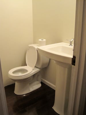 adding new toilet and pedestal sink to powder room