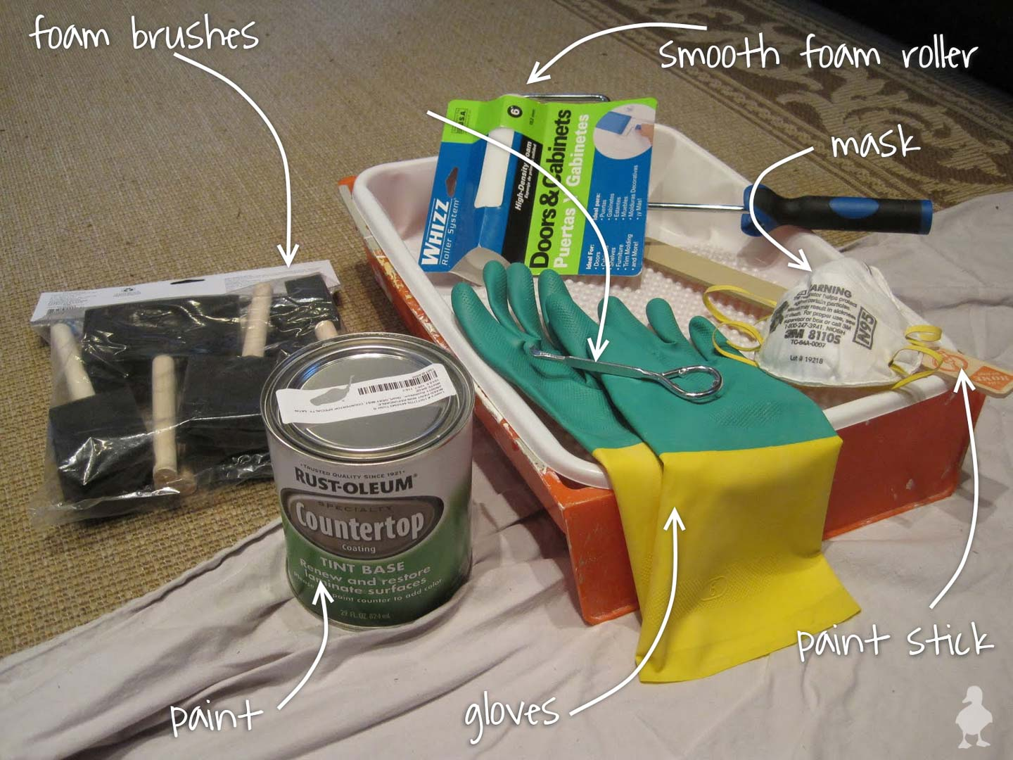 painting kitchen countertops - supplies