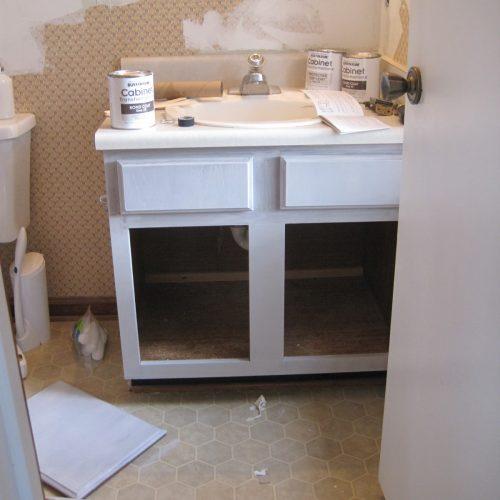Painted Bathroom Cabinet Sneak Peek