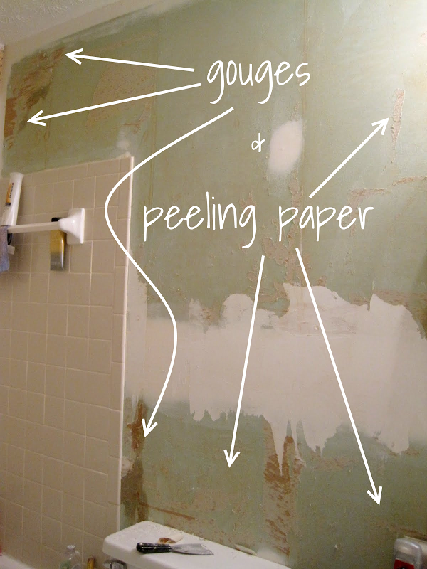 gouges in torn drywall paper