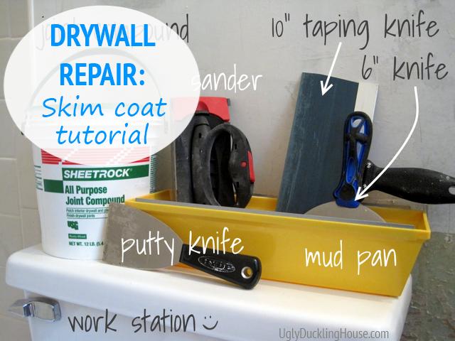 drywall repair skim coat tutorial