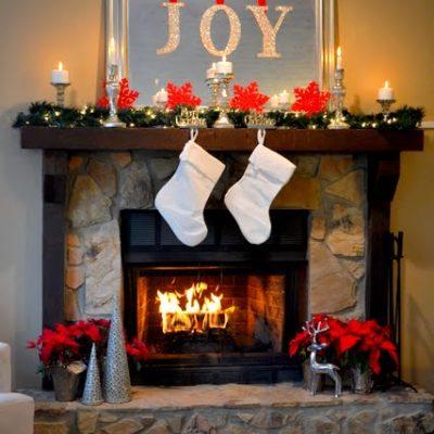 My (Nearly Free) Christmas Mantel Decor