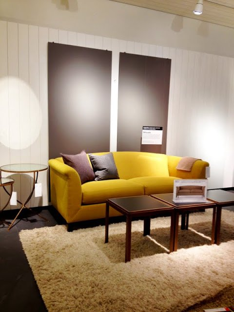 Silhouette Sofa Crate&Barrel yellow couch