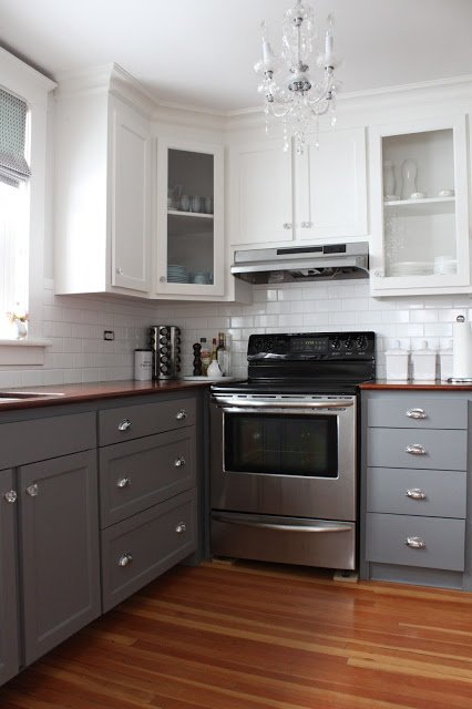 white and gray two tone kitchen cabinets
