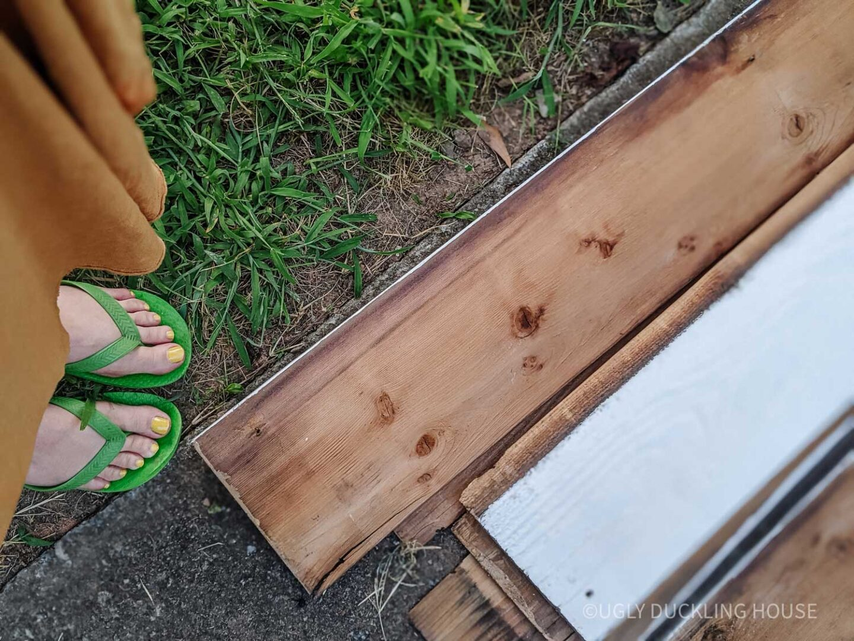 back of old salvaged cedar siding
