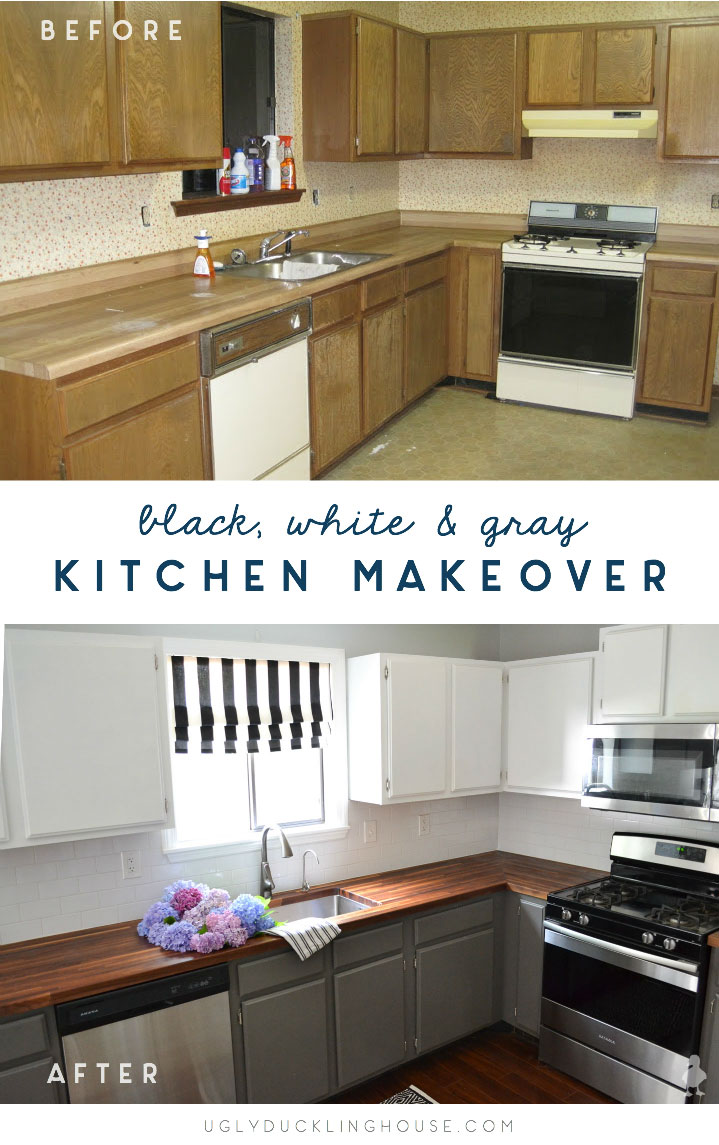 My DIY kitchen makeover started with nearly everything needed to be changed, replaced, or updated in some way. It's come a long way since! #kitchen #diykitchen #kitcheninspiration #whitecabinets #80skitchen #kitchenmakeover #beforeandafter #butcherblock #graycabinets