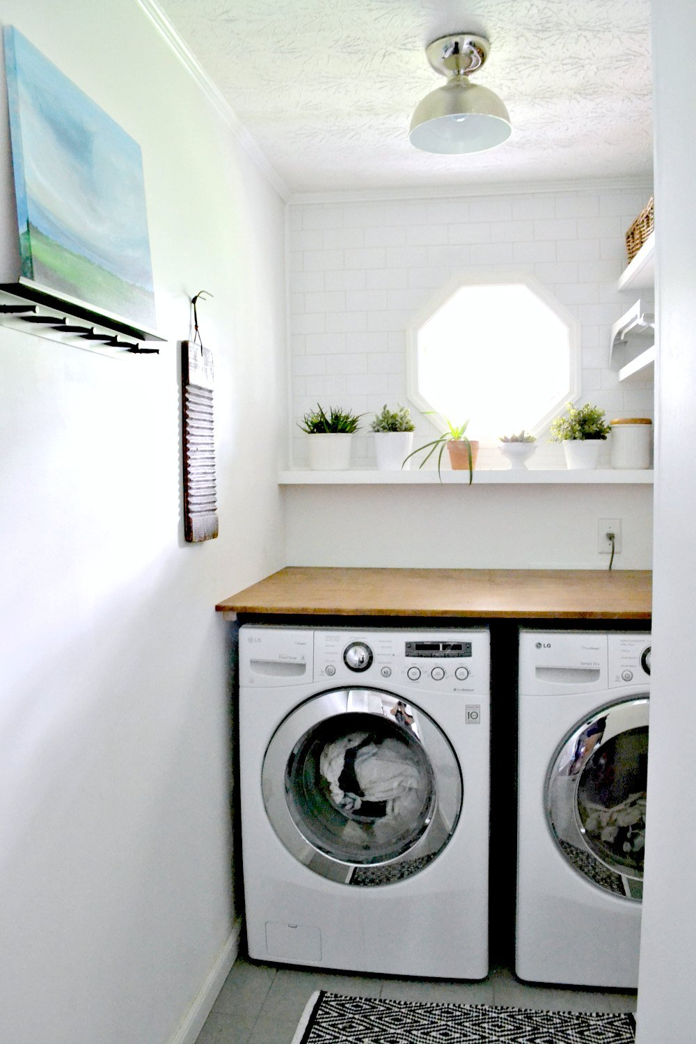 modern simple small white laundry room makeover