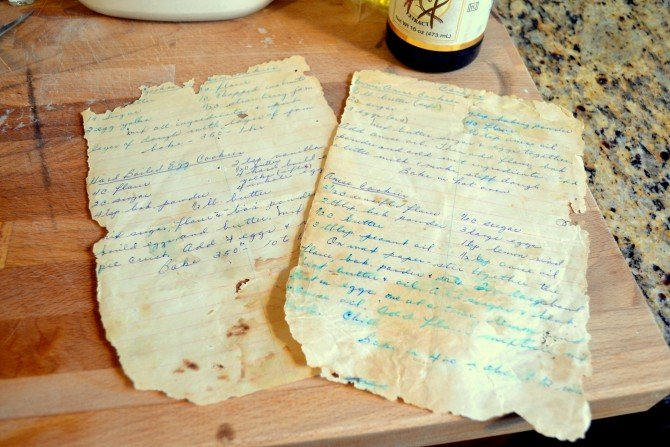 great great granny's old handwritten recipe pages