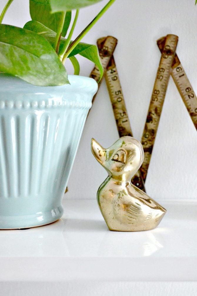 brass duckling paperweight