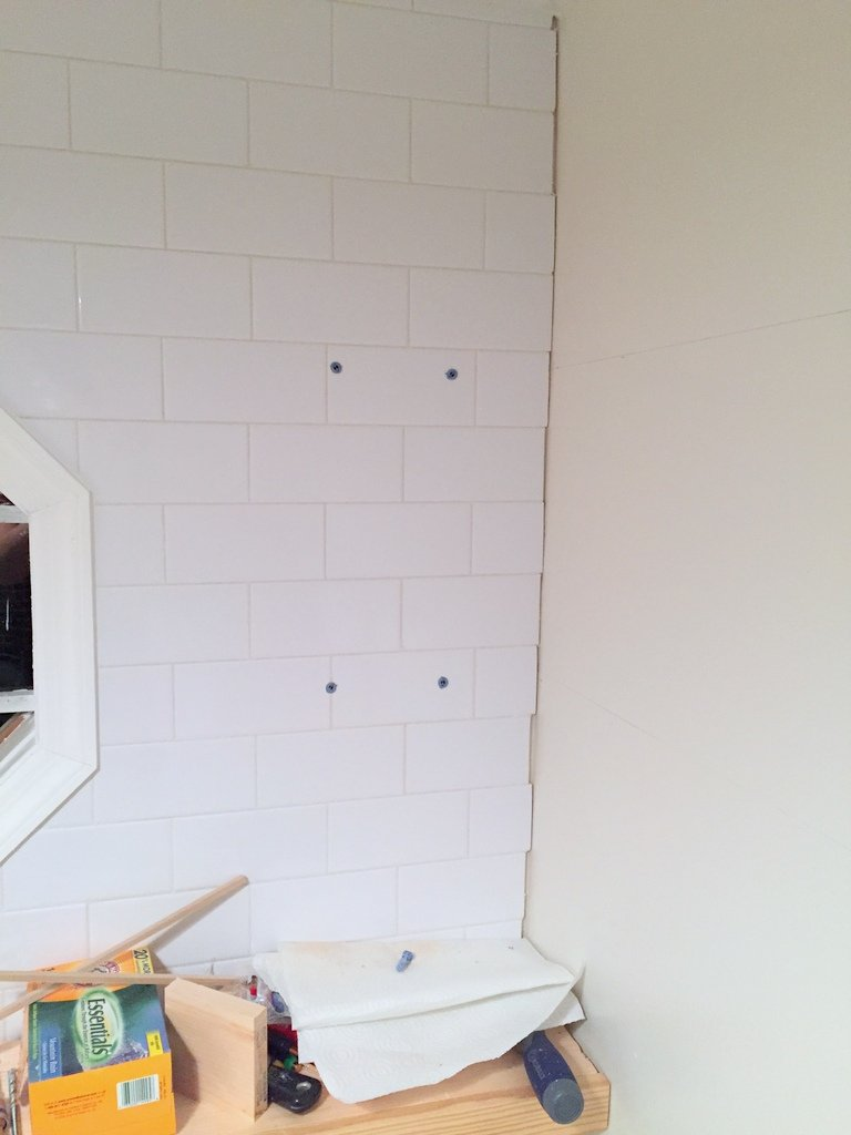 How to install floating shelves on a tile wall using wall anchors tile anchors dailygadgetfo Choice Image