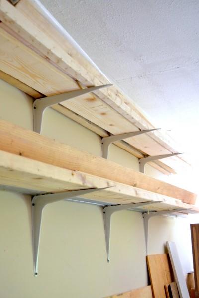 DIY lumber rack with shelf brackets