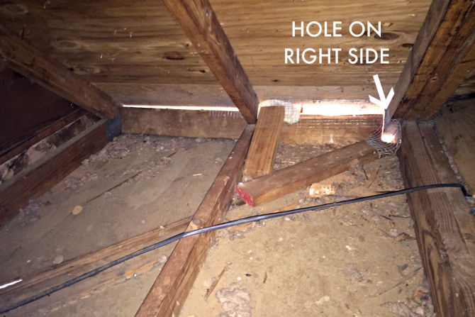 attic hole on right side