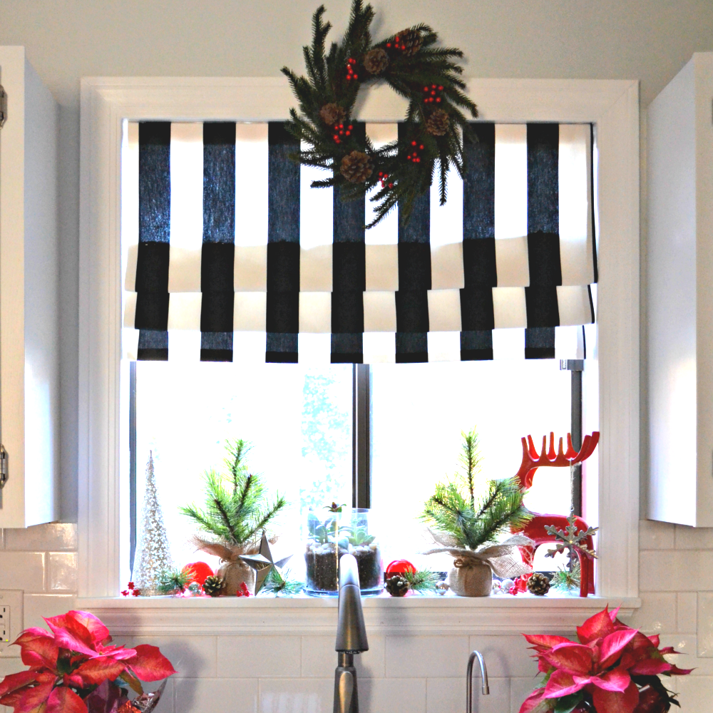 No-Sew Faux Roman Shade And My Christmas Kitchen Window