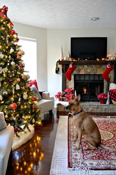 christmas mantel and charlie