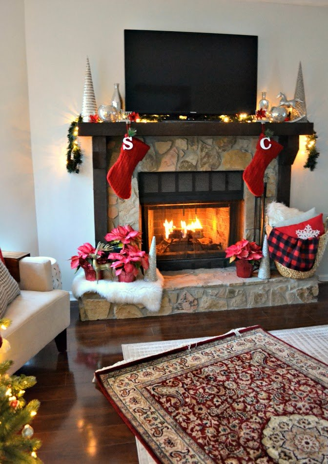 christmas mantel and fire