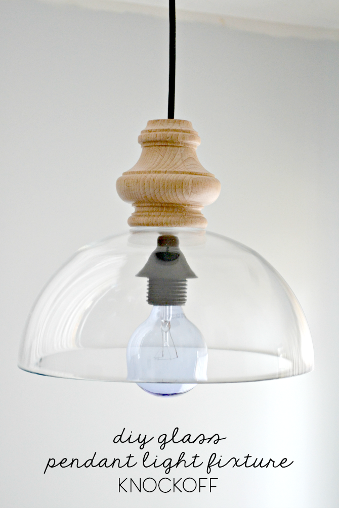 DIY Glass Pendant Light Fixture Knockoff O Ugly Duckling