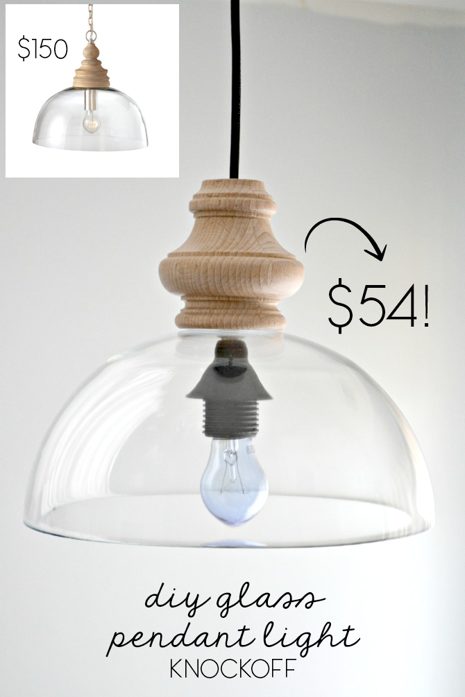 DIY glass pendant light knockoff via The Ugly Duckling House blog