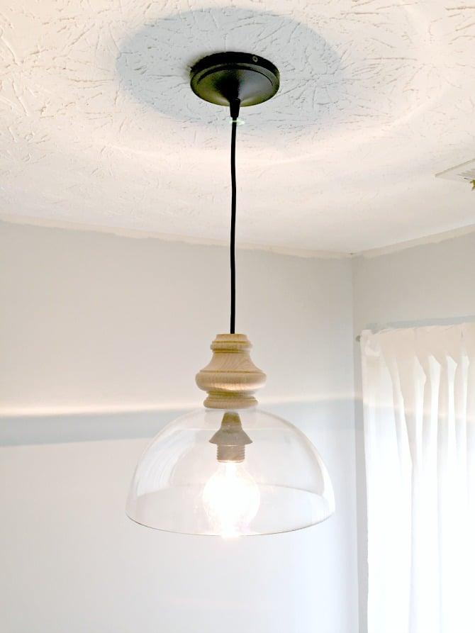 DIY kitchen light fixture lit