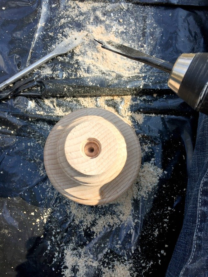 drilling hole wooden bun foot