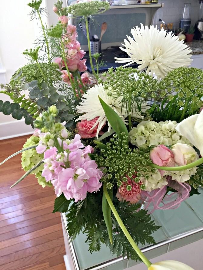 white green pink bouquet
