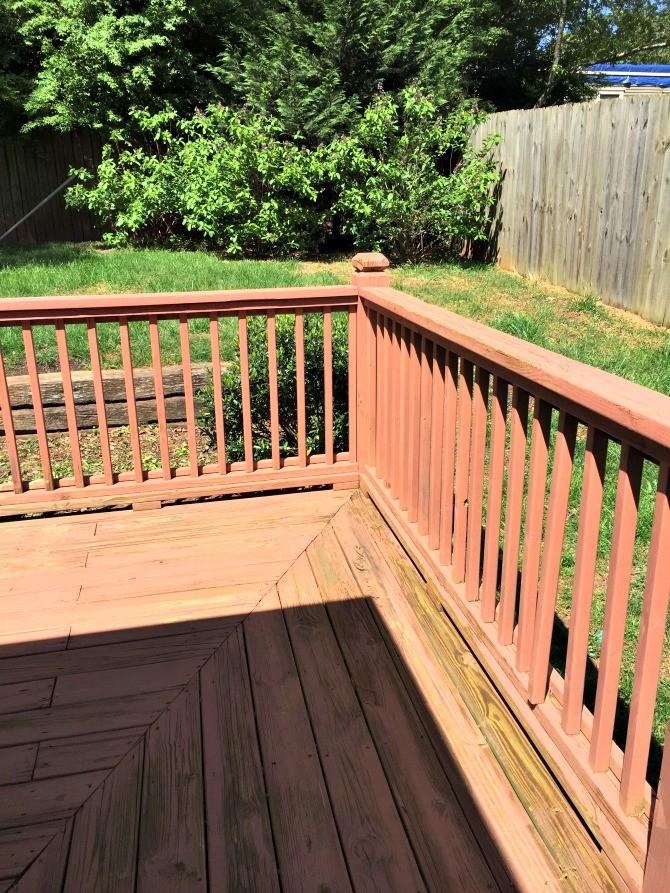 backyard deck stain before