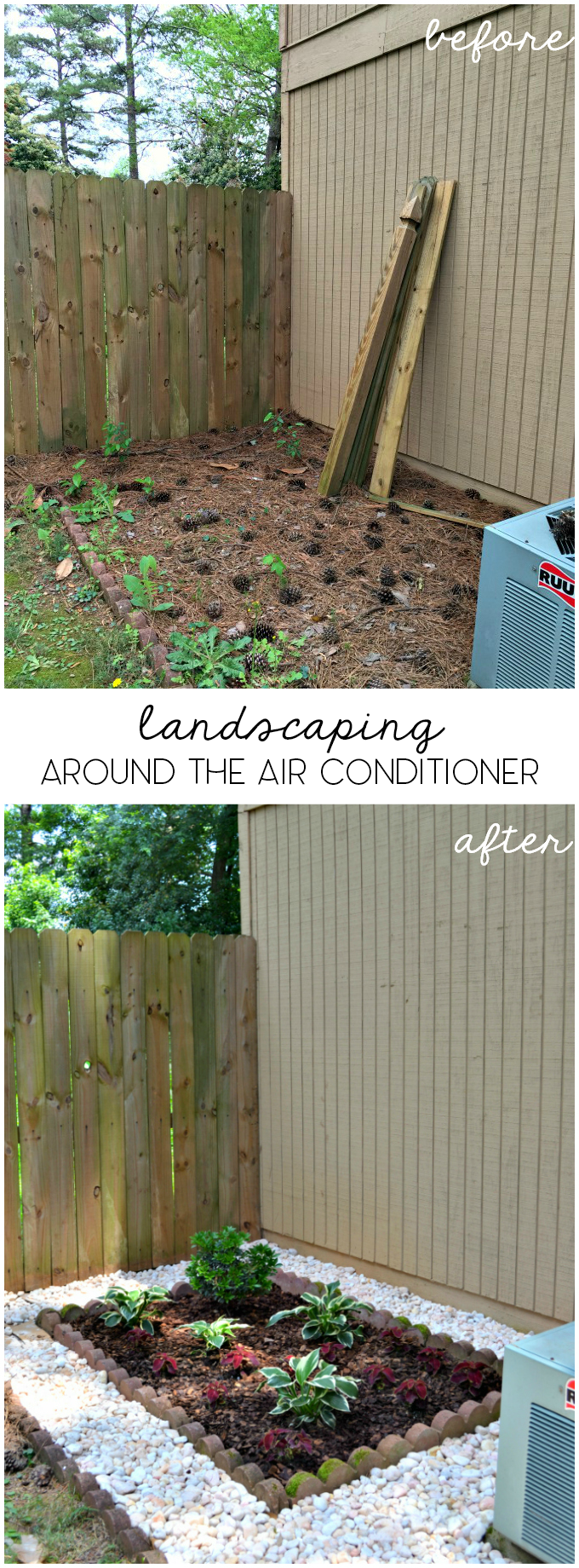 landscaping around AC unit before after