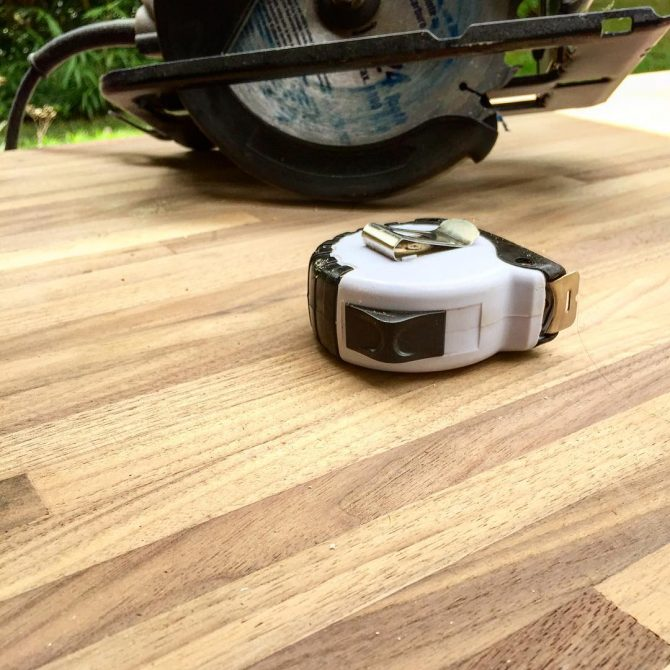 cutting butcher block counter outside