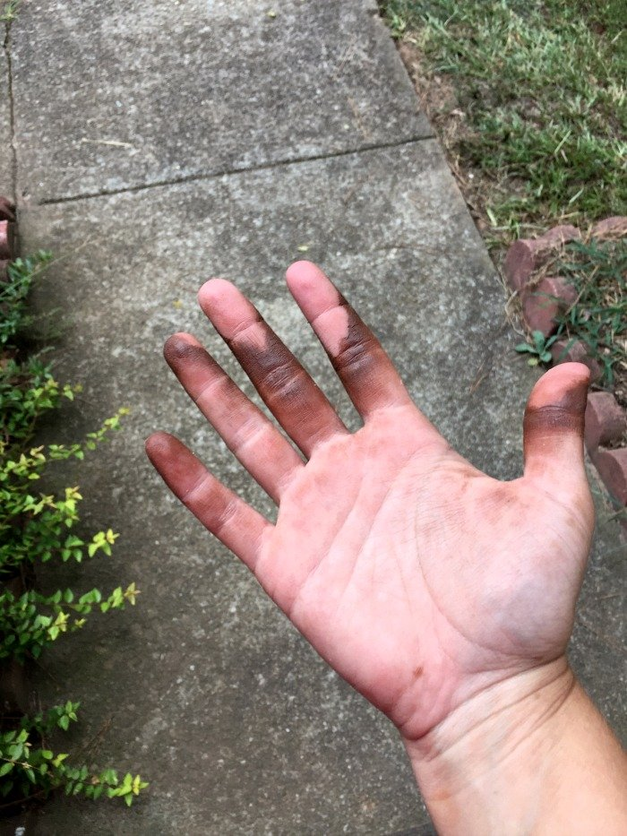 stained hands