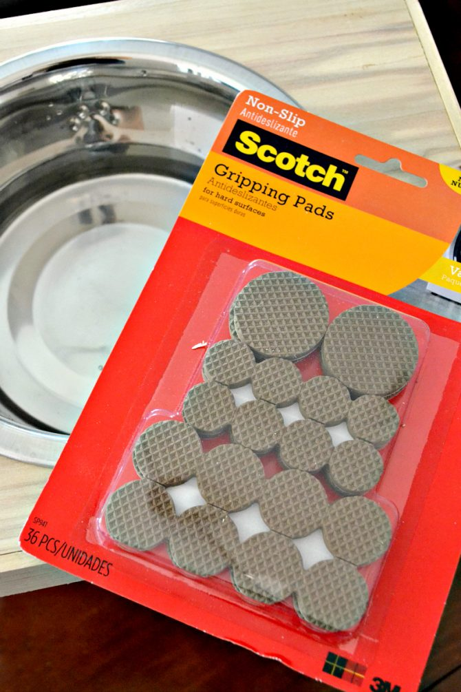The Scotch Gripping Pads help keep this non-slip dog feeder from moving or spilling.