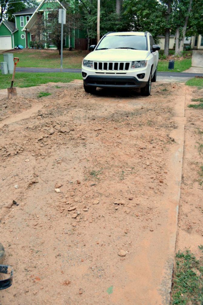 driveway filled with dirt
