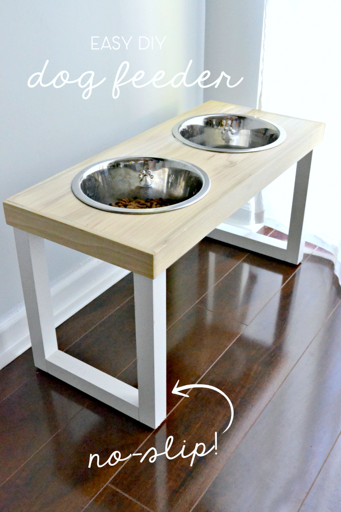 This easy DIY dog feeder with no-slip legs stays in place and looks great.
