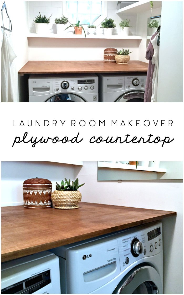 laundry room makeover diy plywood countertop #laundryroom