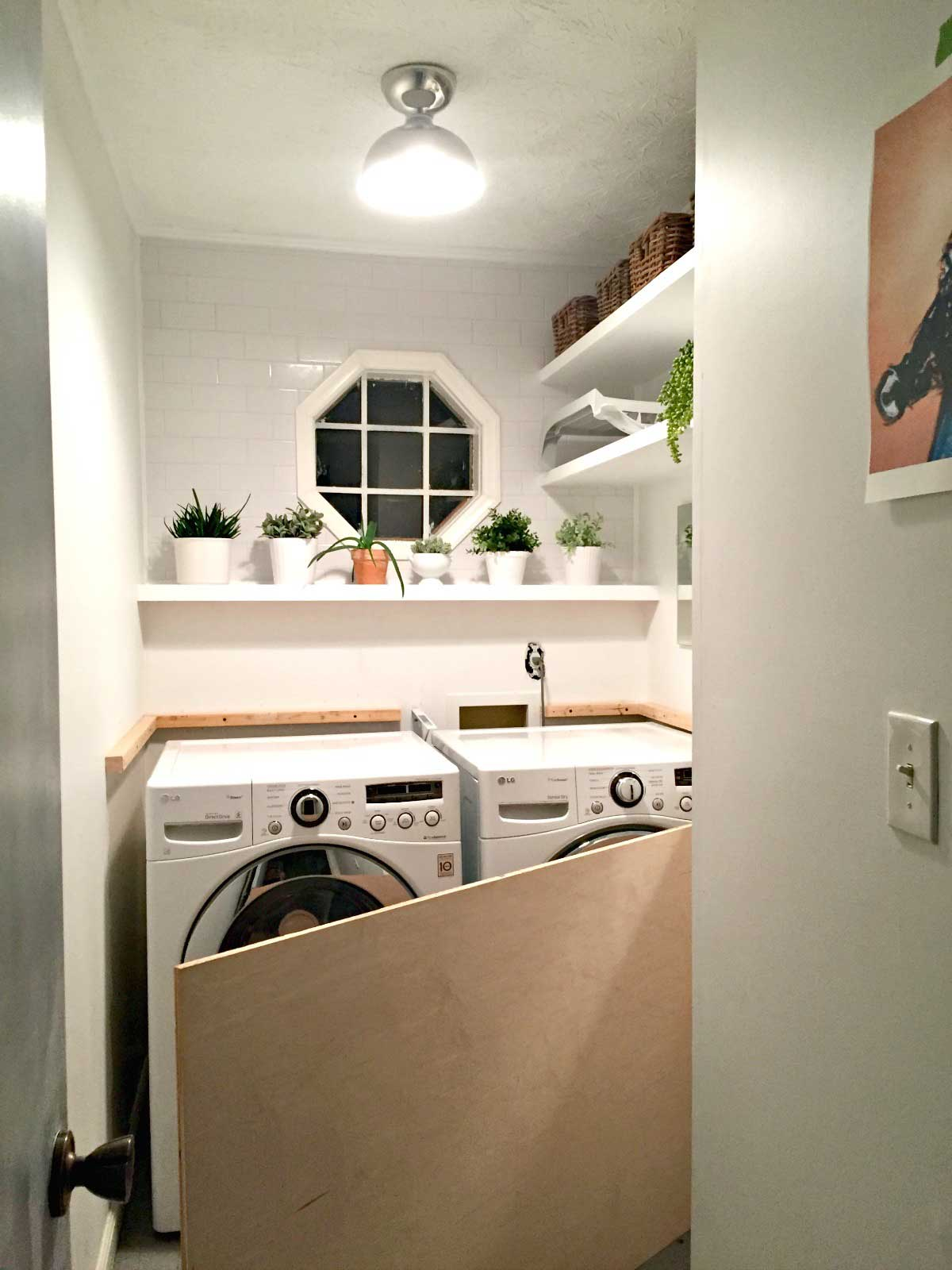 Laundry Room Makeover Diy Plywood Countertop Ugly