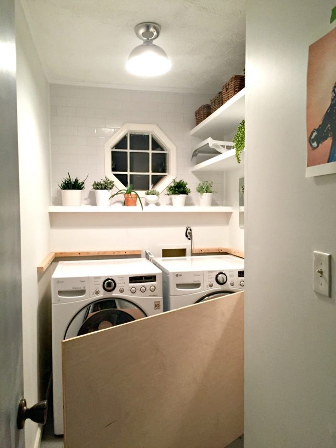 laundry room makeover diy plywood countertop installation