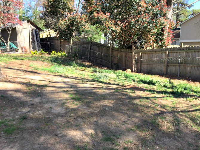 My yard with bare dirt and very little patchy grass, before I overseeded the lawn.