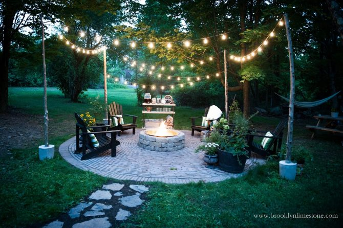 Brooklyn Limestone's beautiful nighttime backyard
