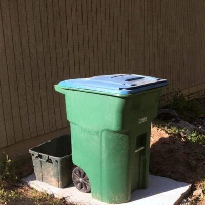 DIY concrete slab for trash bins
