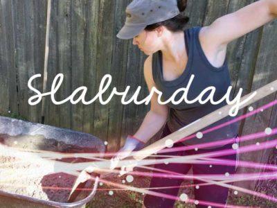 Slaburday - mixing a concrete slab