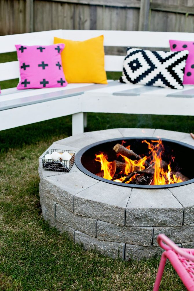 outdoor fire pit from A Beautiful Mess