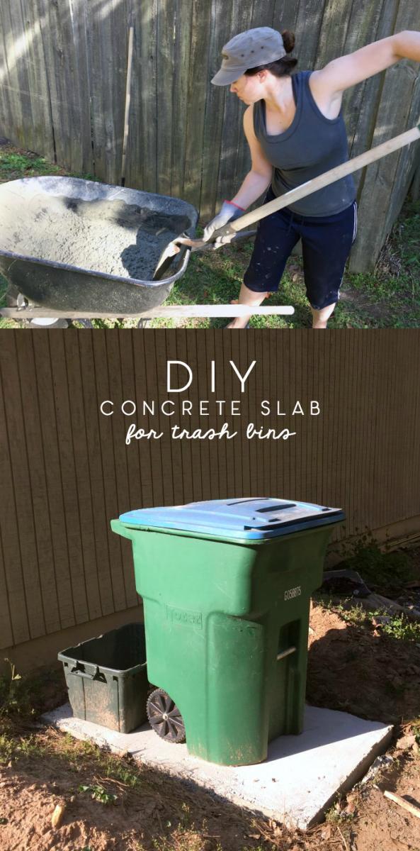 diy concrete slab for trash cans