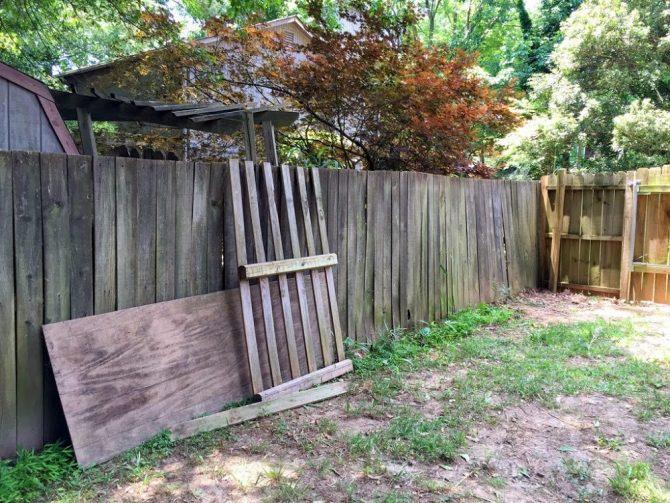 old fenced yard on left side