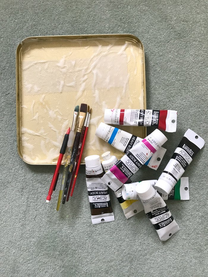 Palette and paints and brushes
