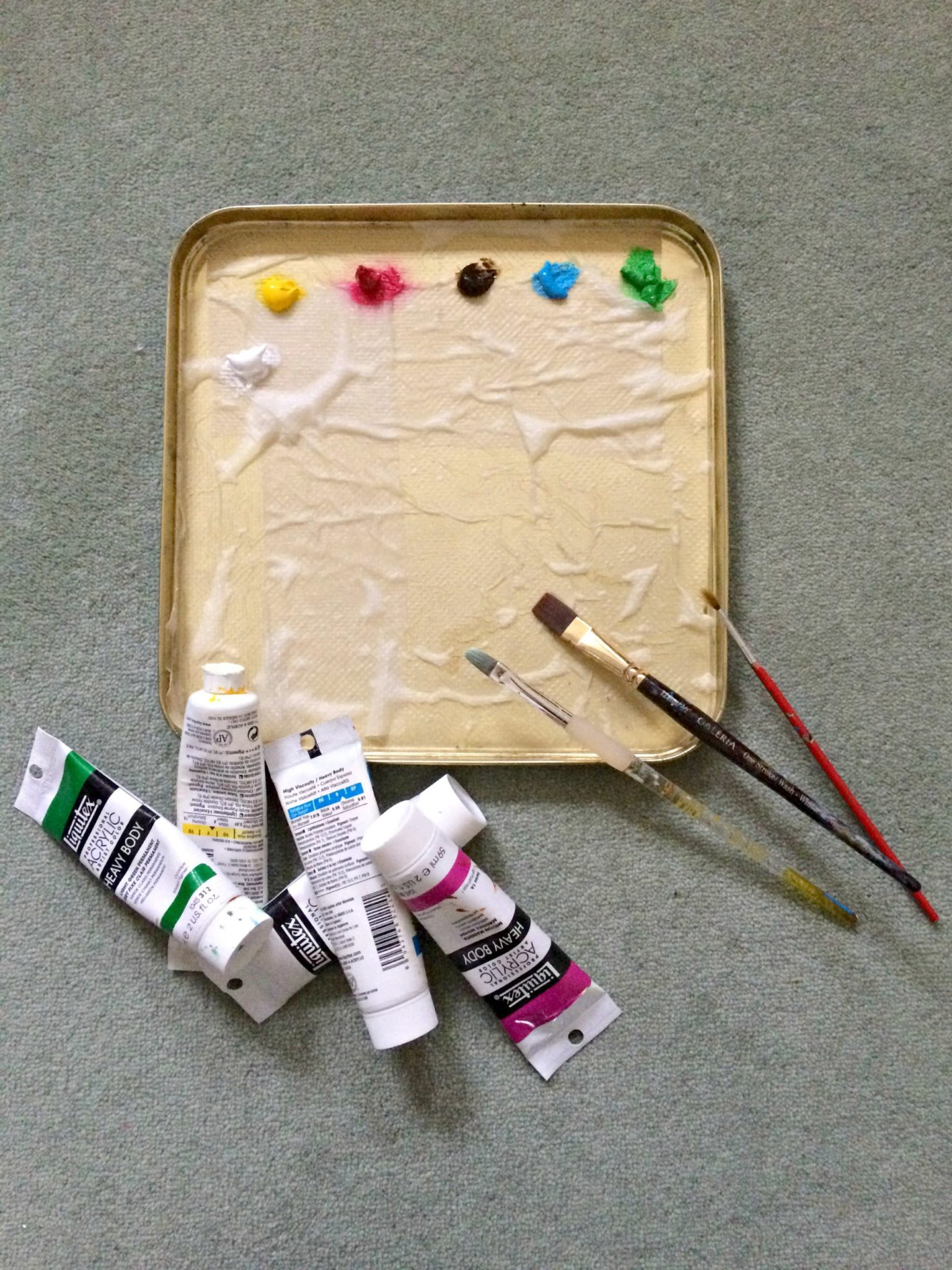Palette color by color with acrylic paint