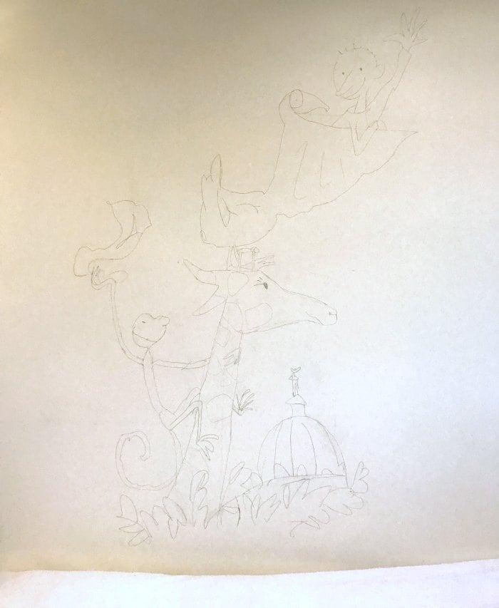 Pencil sketch of wall mural