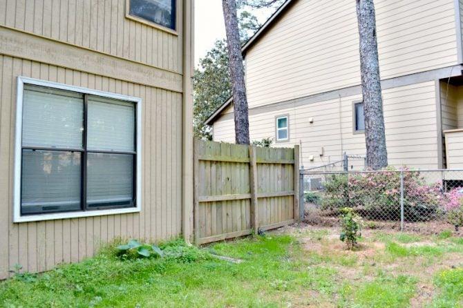 corner garden area before