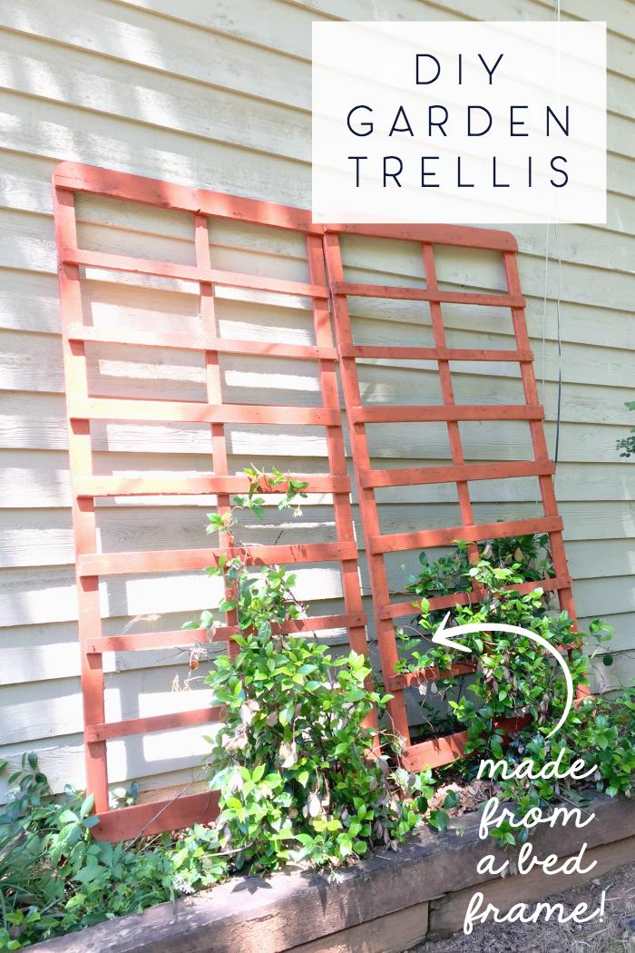 diy garden trellis made from a bed frame