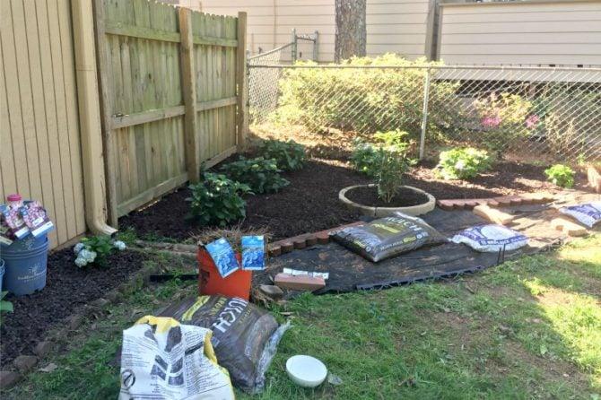 spring planting corner garden