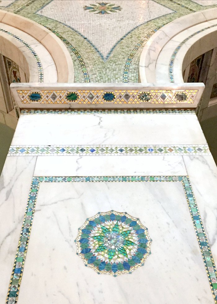 tile and glass inlay in marble