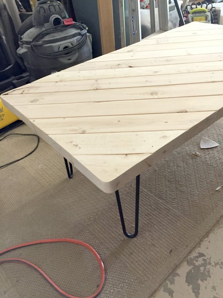 coffee table prep in garage