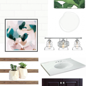 master bathroom mood board - modern white green and chrome accents